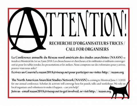 Poster of call for organizers, all information in text below.